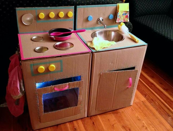 Cardboard kitchen crafts to do with kids for Kitchen set bekas