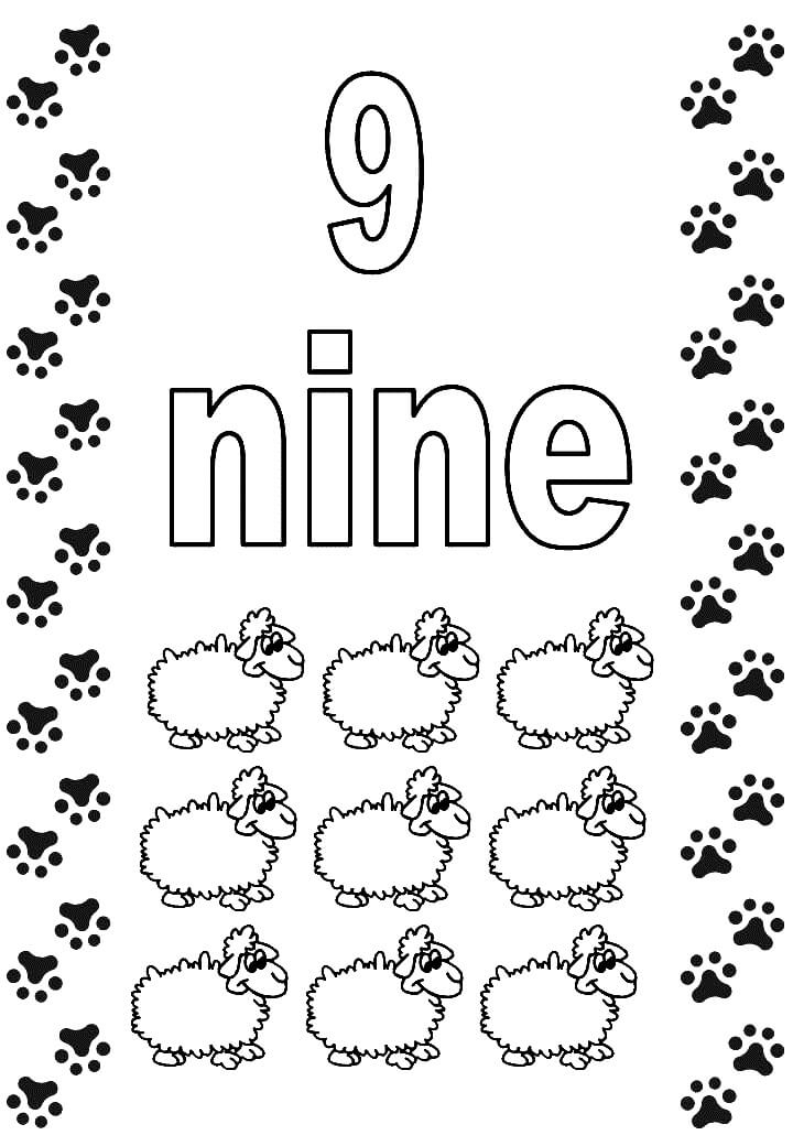 Number 9 Coloring Pages Free Printable Crafts To Do With Kids