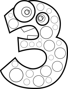 Number three coloring page for kids